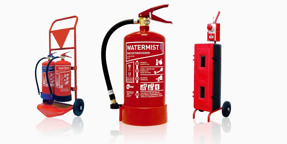 Erste-Hilfe-Kästen, Fire-Point-Trolleys, Watermist Feuerlöscher, Brandschutzzubehör